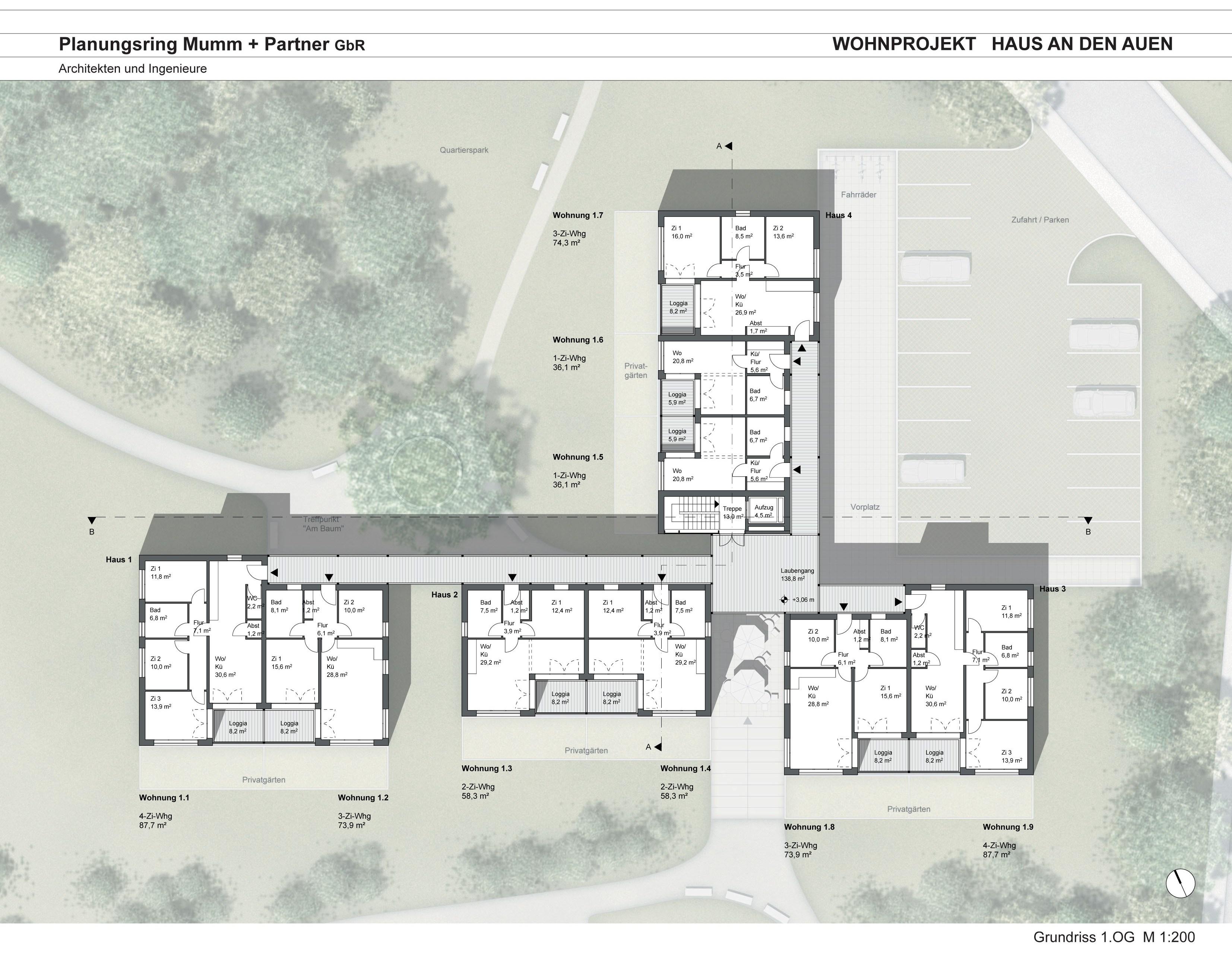Grundrisse wohnprojekt wohnprojekt 39 haus an den auen 39 for Haus grundriss