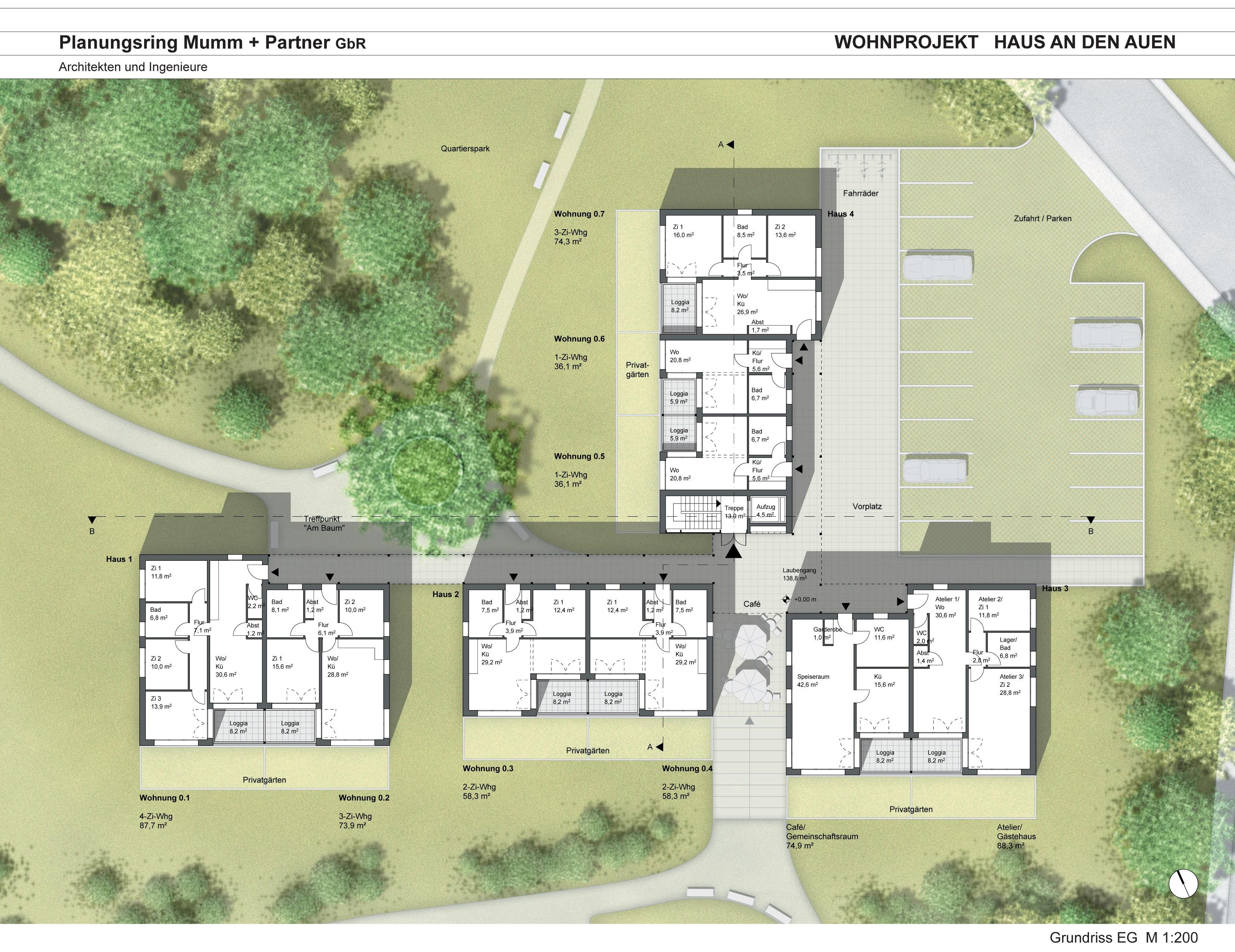 grundrisse wohnprojekt wohnprojekt 39 haus an den auen 39. Black Bedroom Furniture Sets. Home Design Ideas