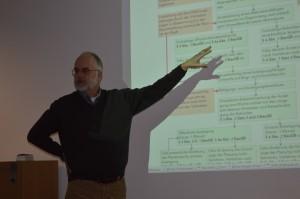 Gechäftsführer Joachim Josenhans erläutert den Mitgliedern des Wohnprojekts die Schritte im Bauleitplanverfahren